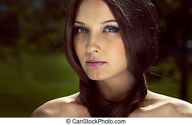Girl with dark brown hair