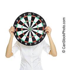 girl with dartboard