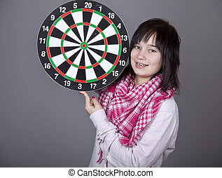 Girl with darts.
