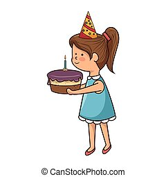 girl with delicious cake