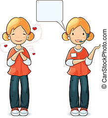 Girl with different expressions and actions