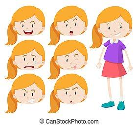 Girl with different expressions
