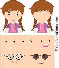 Girl with different faces