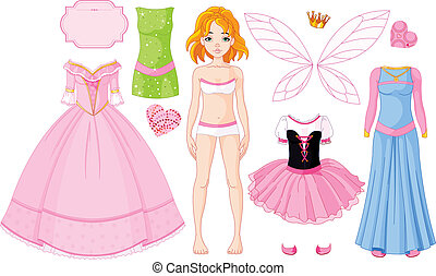 Girl with different princess dresse - Paper Doll with...