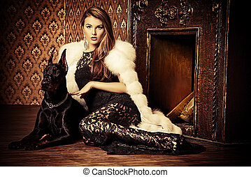girl with doberman