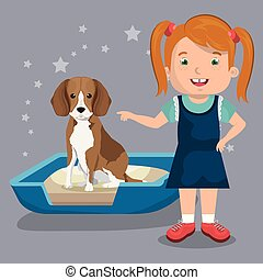 girl with dog character