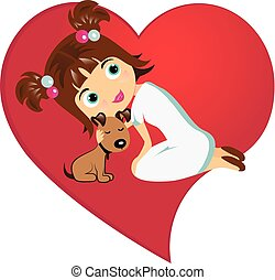 Girl with dog love tenderness logo