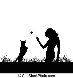 girl with dog silhouette illustration