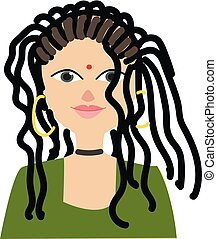 Girl with dreads vector illustration