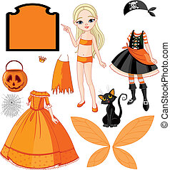 Girl with dresses for Halloween Pa - Pointing Paper Doll ...