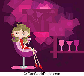 Girl with drink glass sitting in couch