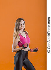Girl with Dumbbells Exercise