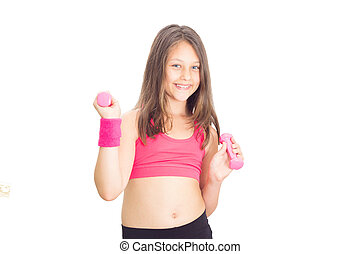 girl with dumbbells on a white background