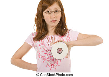 Girl with DVD disk