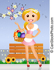 girl with Easter eggs