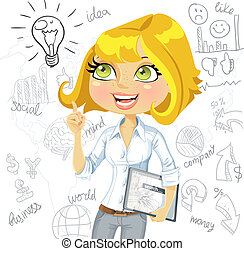 Girl with electronic tablet inspiration idea on business doodles background