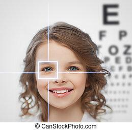 girl with eyesight testing board - health, vision, medicine...
