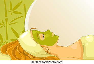 girl with facial mask over background with bamboos and copy space
