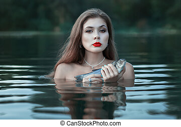 Girl with fish.