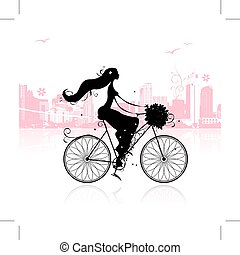 Girl with floral bouquet cycling in the city