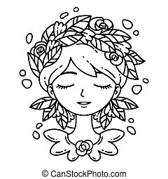 Girl with flower in hair.