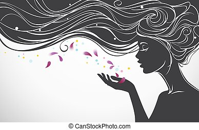 Girl with flower petals - Vector illustration with beautiful...
