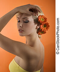 girl with flower posing