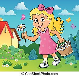 Girl with flower theme image 2