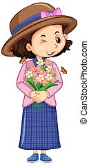 Girl with flowers and butterfly on white background