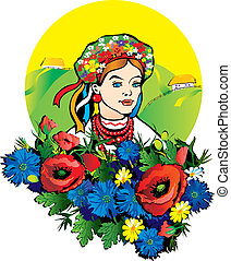 Beautiful girl in the national costume. Vector art-illustration on a landscape background.