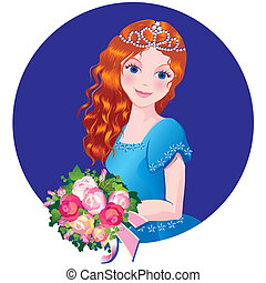 Girl with flowers. - Beautiful girl with flowers. Vector...