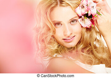 Girl with flowers in hair - Charming blonde with fresh...