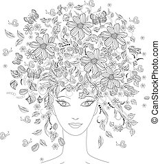 Girl with flowers on her head for coloring book