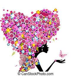 Girl with flowers on her head in the shape of a heart