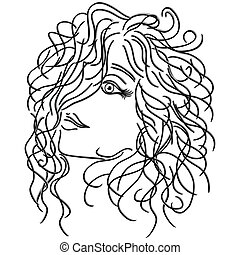 Girl with flowing curly hair, sketching vector illustration