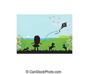 girl with flying kite.