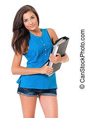 Girl with folders