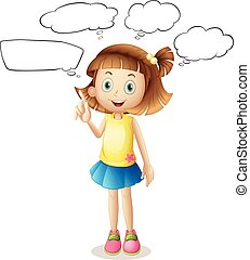 Girl with four speech bubbles
