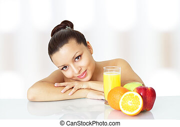 Girl with fruits