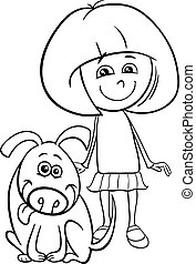 girl with funny dog cartoon coloring book