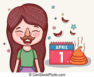 girl with funny mask to april fools day