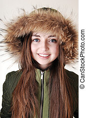 Girl with fur hat.