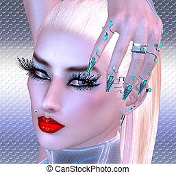 Girl with futuristic nails