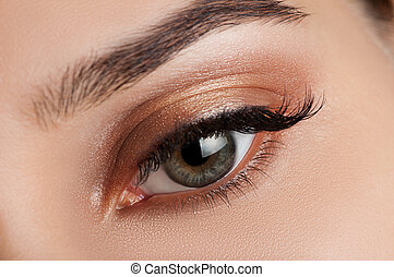 Girl with gentle brown make up - girl with bright colored ...