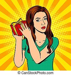 Girl with gift box pop art vector illustration