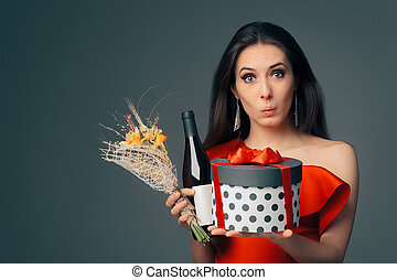 Girl with Gift Box, Wine Bottle and Flower Bouquet Ready for Party