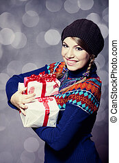 Girl with gift.