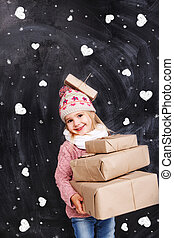 Girl with gifts on a background of hearts