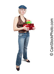 girl with gifts over white