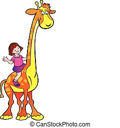 Girl with giraffe.